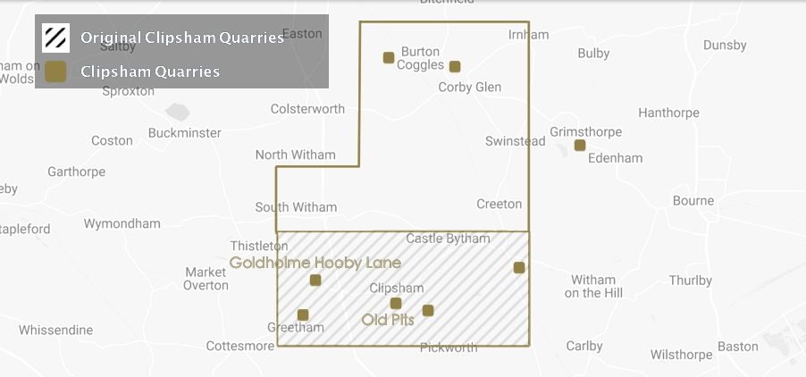 Map of Clipsham Stone Quarries